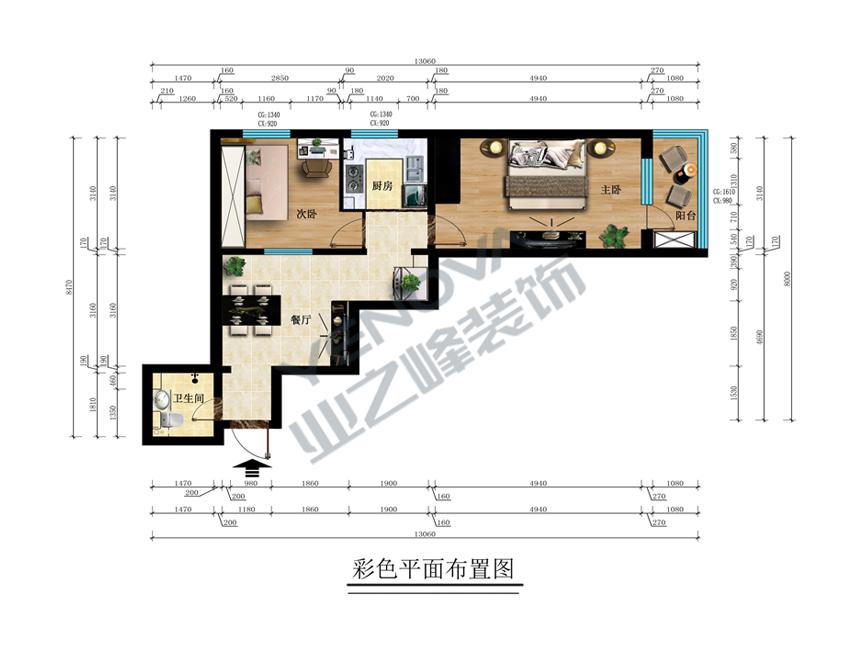 彩色平面图——业之峰装饰二室一厅68平米简约风格