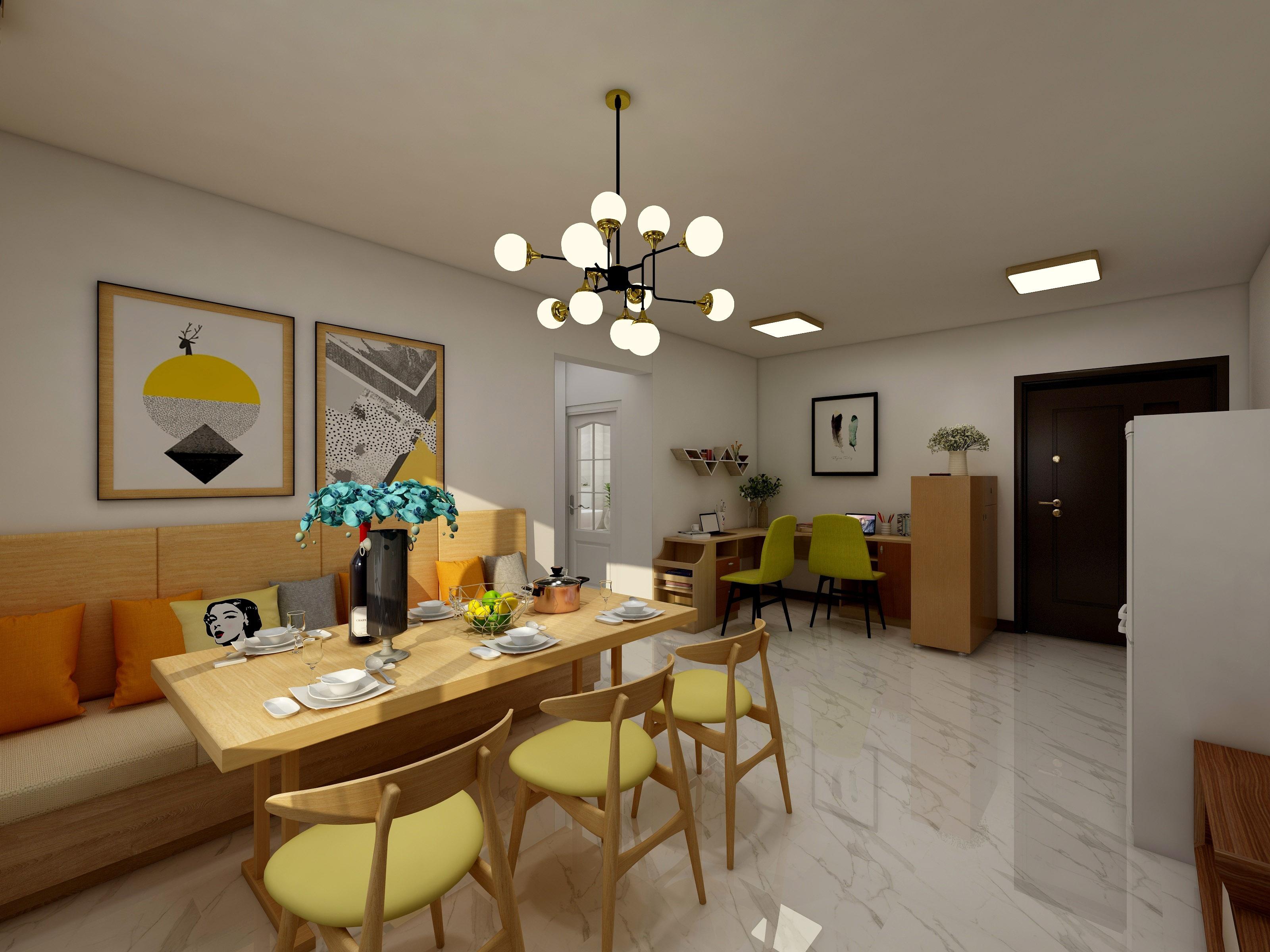 客餐厅效果图2——业之峰装饰两室两厅平米现代简约风