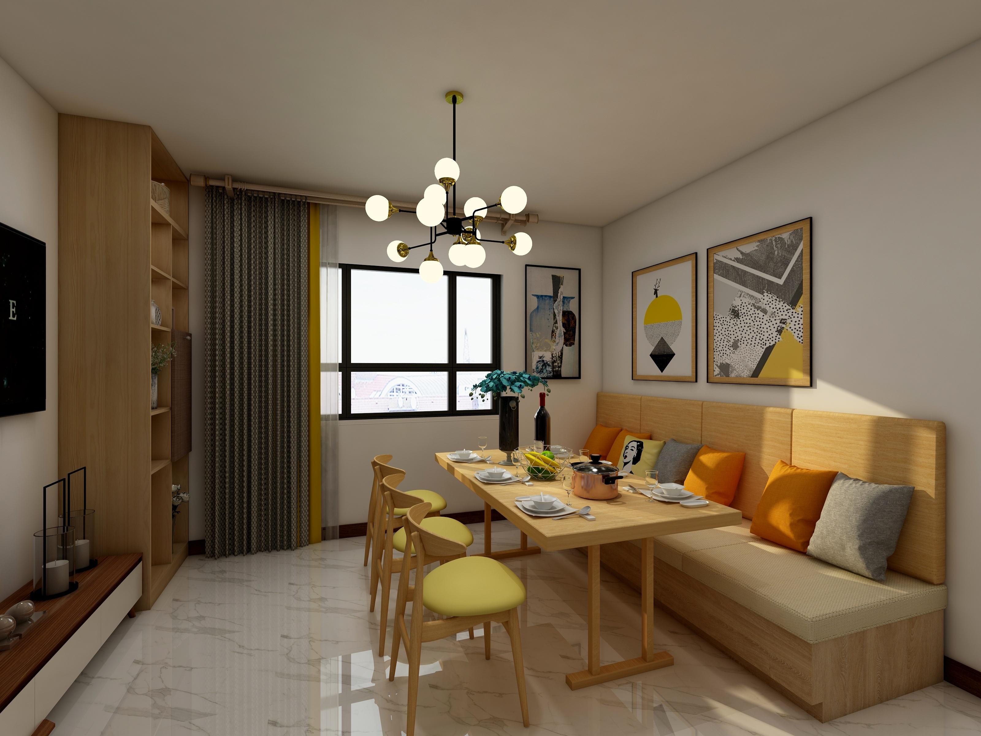 客餐厅效果图——业之峰装饰两室两厅平米现代简约风