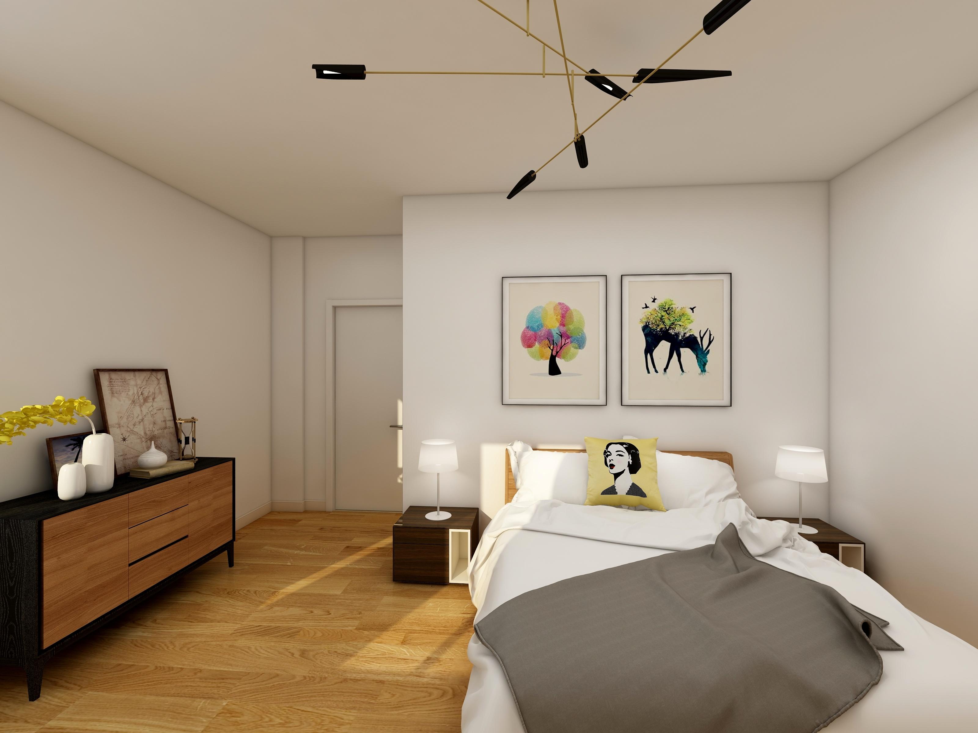 主卧效果图2——业之峰装饰两室两厅平米现代简约风
