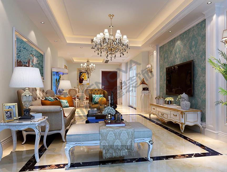 次卧:顶面采用了与客餐厅一致的白色回形直角吊顶和水晶垂帘吊灯图片