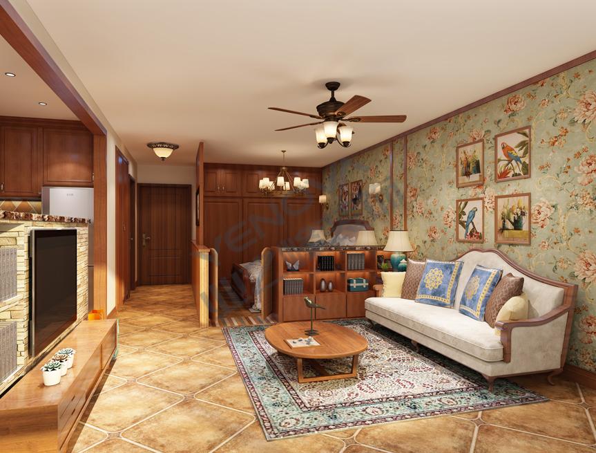 北京业之峰设计师_美式风格一居室60平米房子装修效果图--业之峰装饰北京分公司